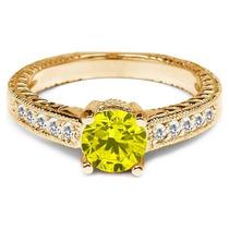Anillo De Compromiso Diamante Amarillo Canario .50 Cts Vs2