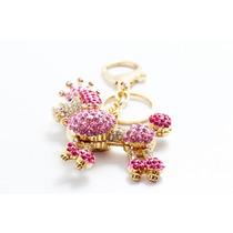 Llavero Fino Dorado Poodle Corona Cristales Rosas Llf15