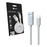 Cable 2mts V8 Microusb Android Datos Carga Rápida 1hora