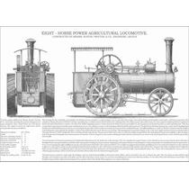 Lienzo Tela Grabado Tractor Agrícola 8 Hp 1890 50 X 70 Cm