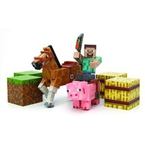 Minecraft Figura Set Overworld Saddle Pack (steve W / Látigo