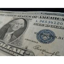 Billete De Dólar Del Año 1935 Certificado En Plata
