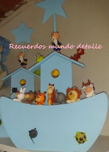 arca de noe animalitos de pasta centro de mesa baby shower