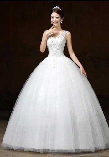59ff38d3 Vestido Novia Económico, Tirantes Encaje, Estilo Princesa - $ 2799 ...
