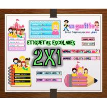 Kit Imprimible Etiquetas Escolares Princesas Disney Beb 2x1