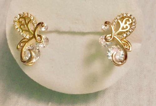 c50ec6f41165 Aretes Mariposa Chapa De Oro 14 Kilates Y Cristales