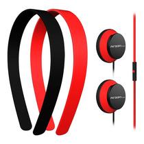 Audífonos Argom Tech Con Dos Diademas Color Negro Y Rojo