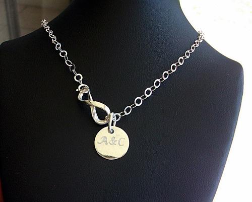 d94bfeb6715a Collar Cadena Dije Amor Infinito Placa Personalizada Plata en venta ...