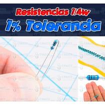 100 Resistencias 1/4w Tolerancia 1% - Valores A Su Elección