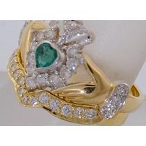 Anillo Celta Oro 10 K Claddagh Irlandes Amor Bodas Esmeralda