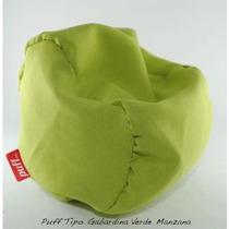 Sillón Puff Individual Tela Tipo Gabardina Verde Manzana