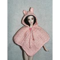 Hermosa Capa Con Gorrito De Orejitas Tejido Para Barbie