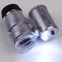 Mini Lupa Microscopio Zoom 60x Con Lampara Luz Led