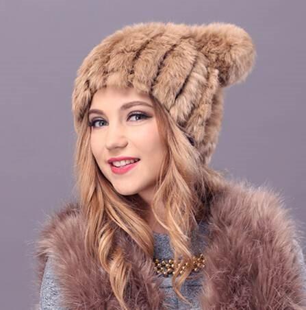 Gorro Piel Conejo Extra Suave Moda Mujer Lujo Invierno en venta en ... cdbf7d6140d