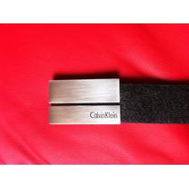 Cinturón Calvin Klein De Lujo, En Piel Color Negro Y Acero