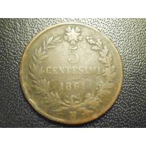 Italia 5 Centesimos Fecha 1861 N Cobre 25mm