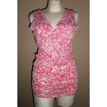 Xtil! Moderna Blusa O Minivestido Rosa Estampada, Talla S