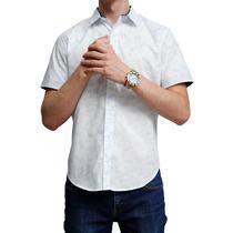 Camisa Blanca Marca Concrete Estampado Transport Manga Corta