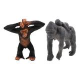 Gorila Realista Con Bebé + Pequeño Animal De La Fauna De