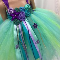 Vestido Tutu Sirenita Ariel Disfraz Princesas Tiara Niña En