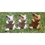 Adorno Jardín Figuras De Resina Conejos Set De 3 Piezas