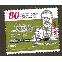 Estampilla 80 Aniv Ferrocarriles 1989 Vbf