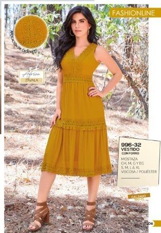 Vestido Color Mostaza Con Crochet 996 32 Cklass 2 19 C En