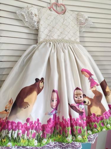 Vestidos Fiesta Masha Y El Oso Disfraz Alta Costura Niña En