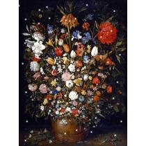 Lienzo Tela Naturaleza Muerta Flores En Base De Madera 1603
