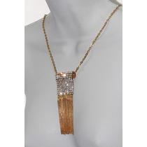 Collar Moda Largo Fina Cadena, Cristales Y Fleco Dorado