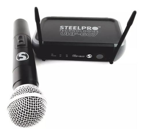 Microfono Profesional Inalmabrico Uhf Steelpro Uhf-607a