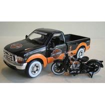Motocicleta Harley Davidson + Camioneta Ford F350 Maisto
