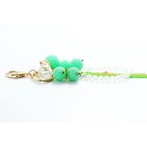 Llavero Fino Esferas Verdes Cristales Cadena Dorada Llf02