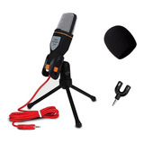 Micrófono Condensador Tripie + Divisor De Audio + Antipop