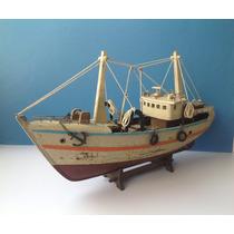 Adorno Decorativo Barco Pesquero. Madera Estilo Vintage. Vea