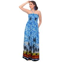 Playa La Leela Palmera Maxi Mujeres Tubo Vestido Azul Marino