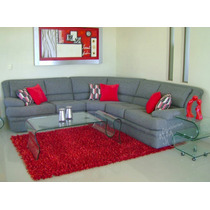Sala Grande En L 2 Sillon - Sofá Love Seat Y Esquinero Gris