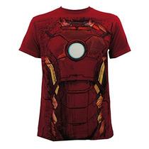 Avengers Iron Man Traje Traje Adulto T-shirt-rojo