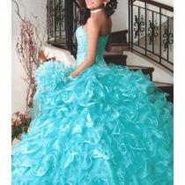Vestido Andrea Xv Años Verde Menta,3 Piezas Mas Regalos.
