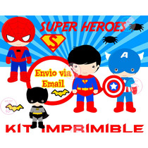 Kit Imprimible Superheroes Batman Superman Ironman Único!!