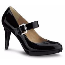 Zapatos Cerrados Zapatillas Andrea Negras De Charol Bajitas