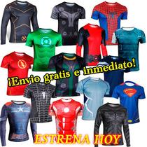 Ropa Deportiva Gym Playeras Super Heroes Batman Y + No Licra