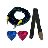 Kit Guitarra Bajo Cable Solcor 6m+ Tahali + 2 Plumillas