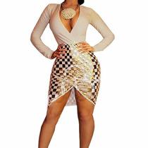 Vestido Fiesta Sexy Escote Noche Elegante Moda Kardashian