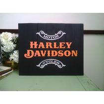 Cuadro Letrero Anuncio Antiguo Harley Davidson Motocicleta