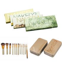 Kit Sombras Para Ojos Naked 1 2 3 Y Smoky + 12 Brochas Prof
