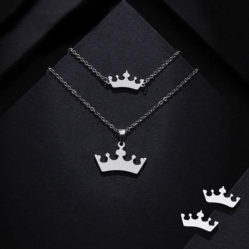 574ca810e6ac Pulsera Collar Y Aretes Corona Reina Acero Inoxidable Kit en venta ...
