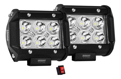 2 Faros De 6 Led Alta Intensidad Osun® 100% Metal+bases Para Jeep/motos/autos/grúas/montacargas Universales Consumo 18w