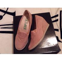 Zapatos Tipo Mocasín Con Tacón Xuña. Color Beige Nude Núm. 6