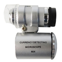 Mini Detector Billetes Falsos Microscopio Con Luz Led Y Uv
